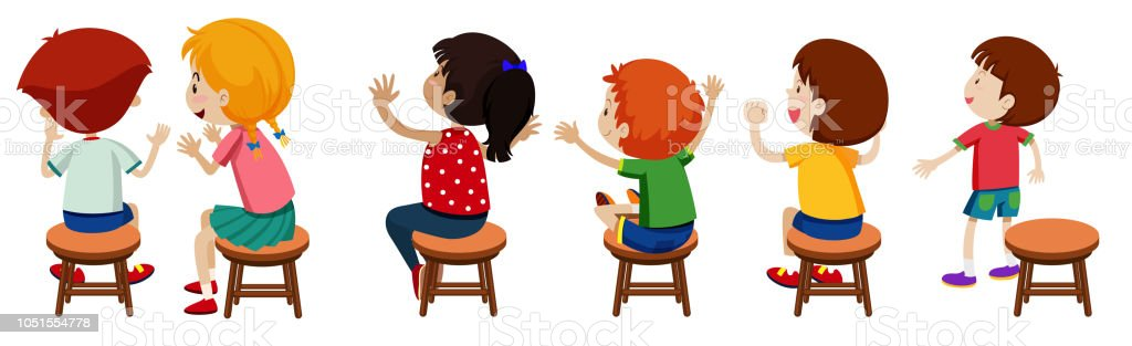 Ilustración de Niños Sentados En Sillas y más Vectores