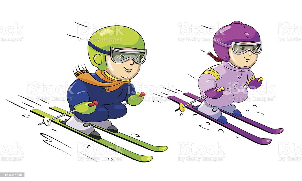 Children Skiing royalty-free children skiing stock vector art & more images of advertisement