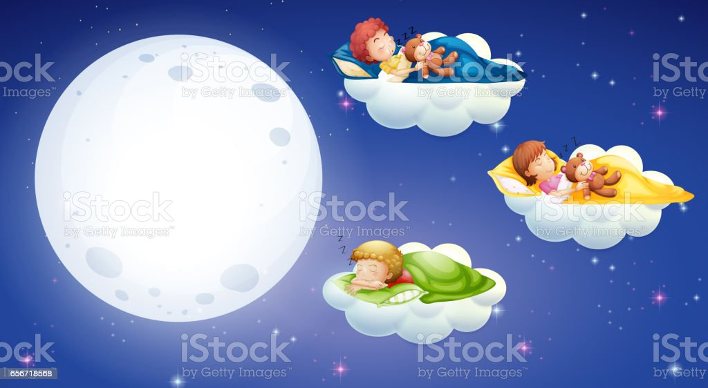 Children sleeping at night time vector art illustration