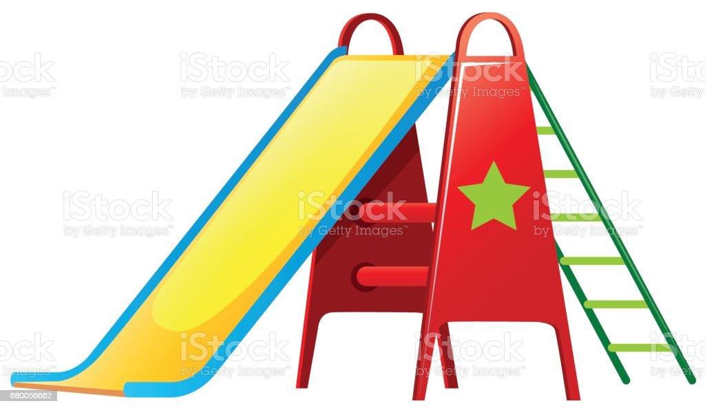 Children slide on white background vector art illustration