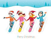Children Snowboarding Together