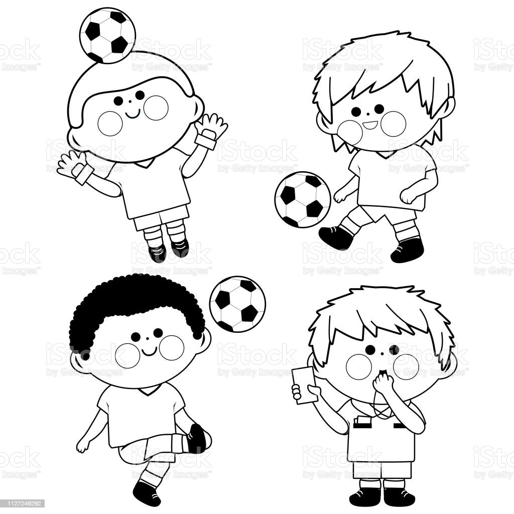 Ilustración De Jugadores De Fútbol De Los Niños Vector Blanco Y