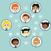 Set of eight different pupils isolated on blue background with white dash stroke and social media symbols