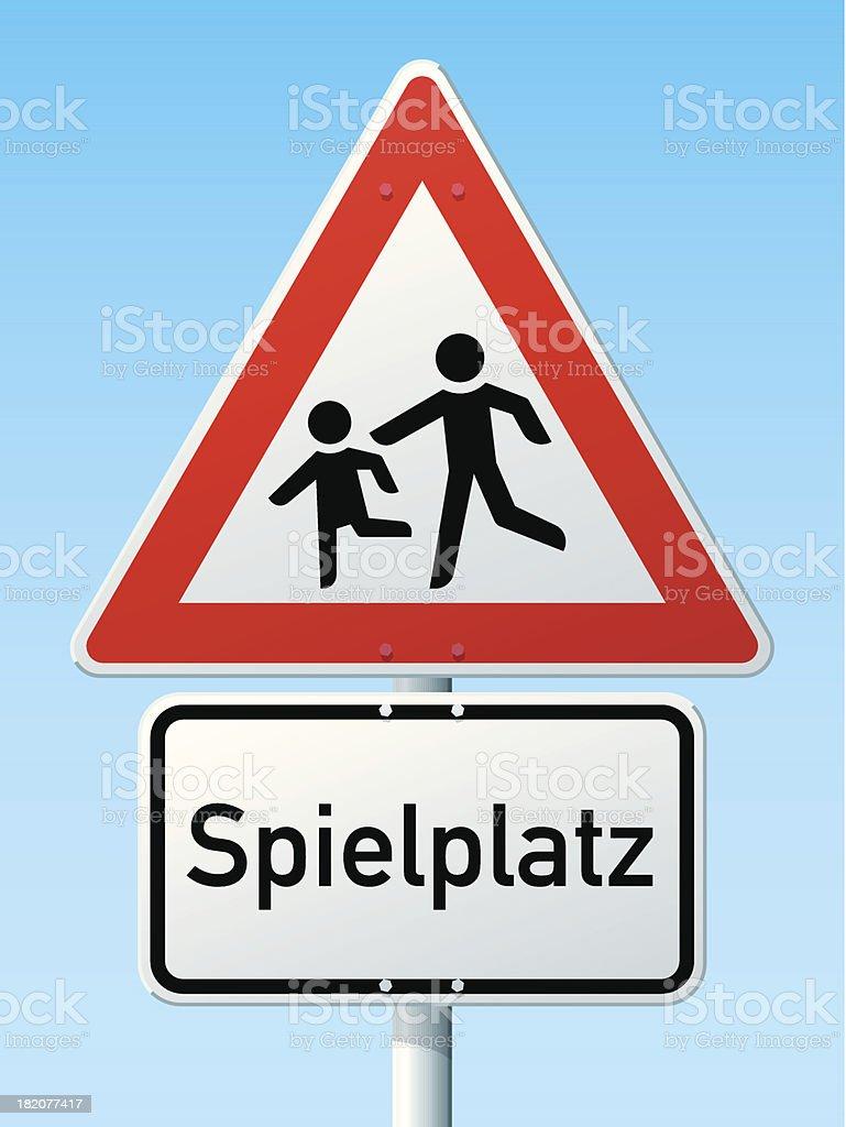 Children Spielplatz German Warning Sign royalty-free stock vector art