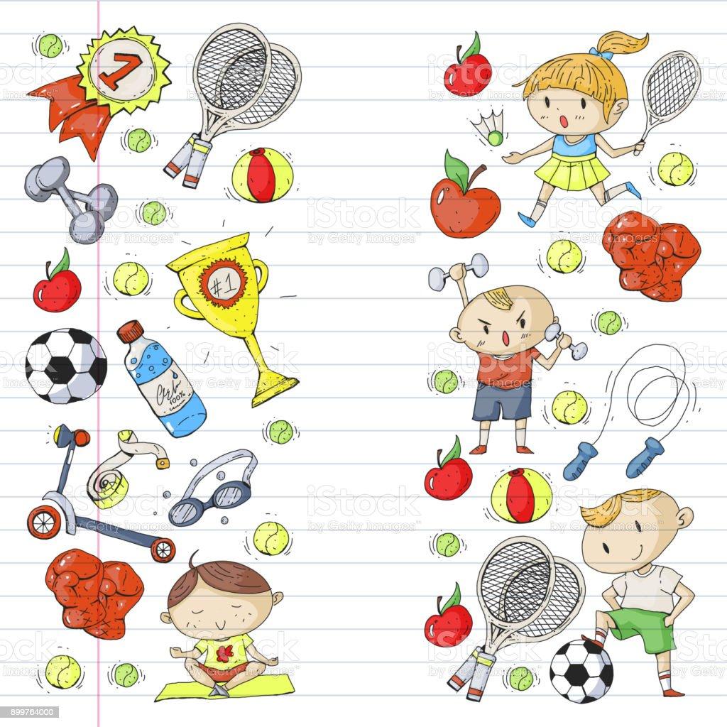 Children Sport Kids Drawing Kindergarten School College Preschool Soccer Football Tennis Running Boxing Rugby Yoga Swimming Stock Illustration Download Image Now Istock