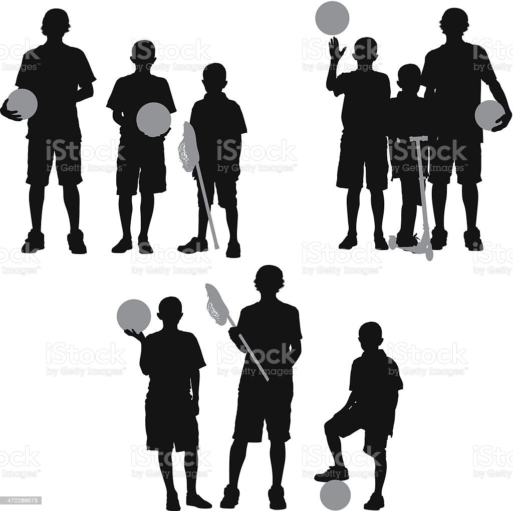 Children standing with sport equipment royalty-free children standing with sport equipment stock vector art & more images of basketball - ball