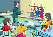 Children students chorus singing song & learning at music class in school classroom.