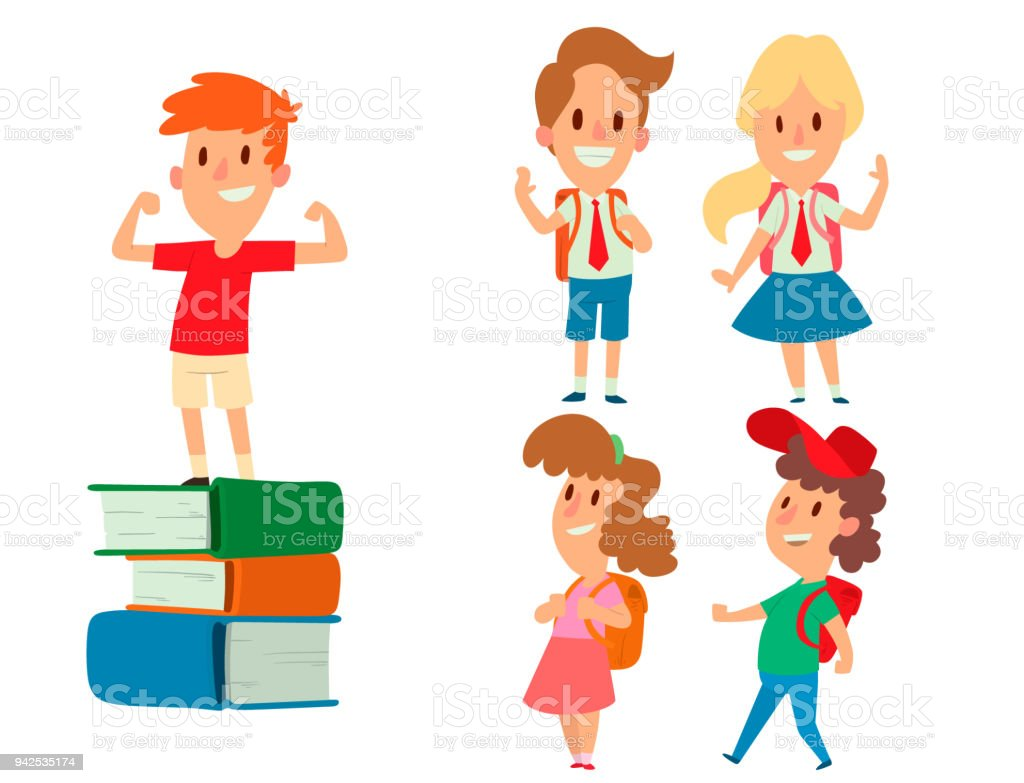 Children Studying School Kids Going Study Together Childhood Happy ...