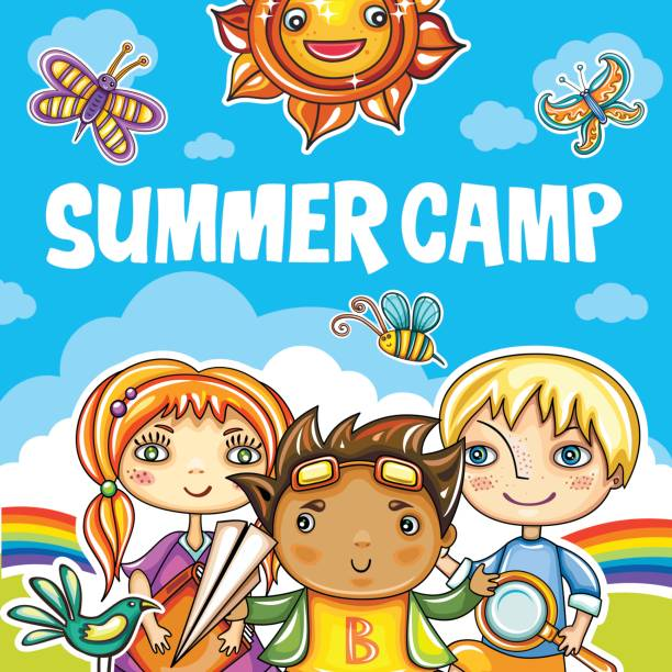 Children Summer camp series Colorful floral poster with little children friends, book, magnifying glass, birds, clouds and sky. Summer playground. Template for brochure, website banners, kids party invitation, summer art camp adventure borders stock illustrations