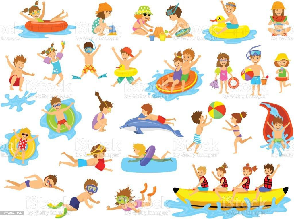 Plaisir de vacances d'été enfants activités sur la plage sur l'eau. plaisir de vacances dété enfants activités sur la plage sur leau vecteurs libres de droits et plus d'images vectorielles de activité de plein air libre de droits
