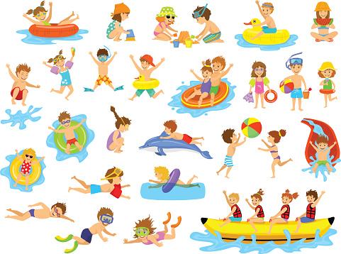 Children summer holidays fun activities at beach on water.
