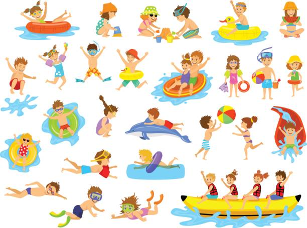 Children summer holidays fun activities at beach on water. vector art illustration