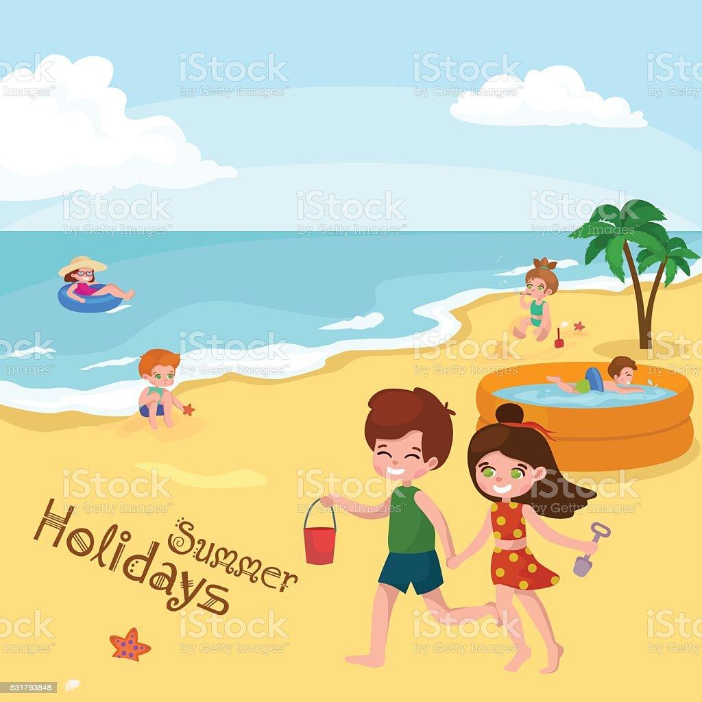 Children Summer Vacation Kids Playing Sand Around Water On Beach Royalty Free
