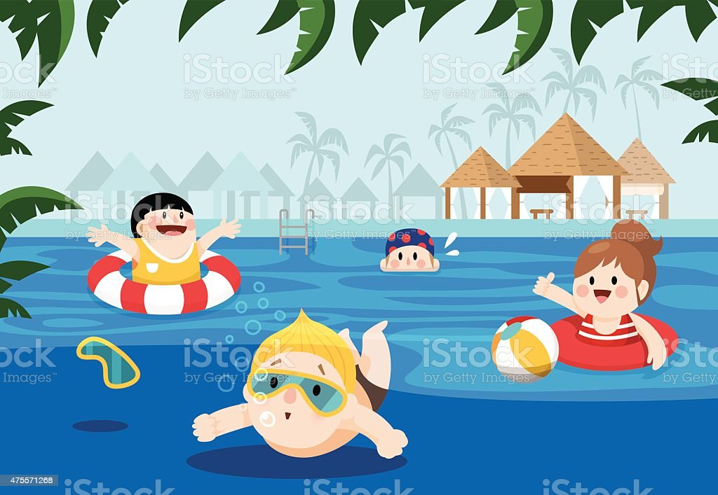 Children swimming in a resort for summer vacation vector art illustration