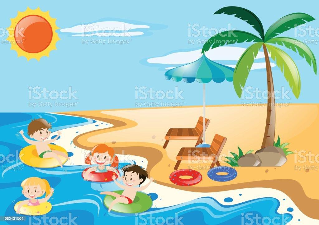 Children swimming in the sea vector art illustration