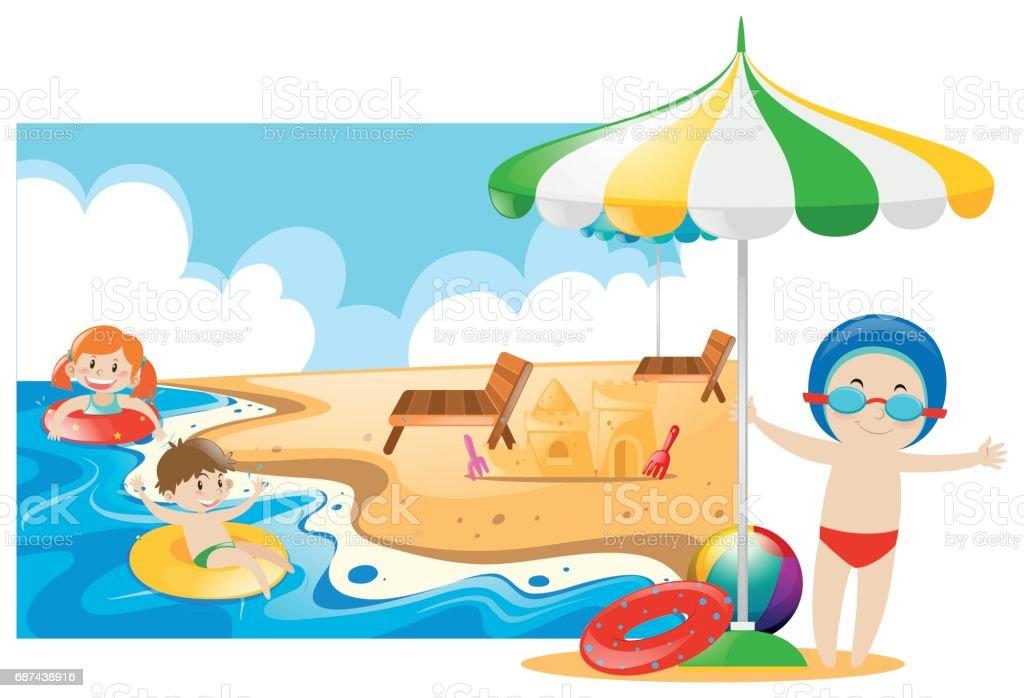 Kinder Die Schwimmen Im Meer Stock Vektor Art und mehr ...