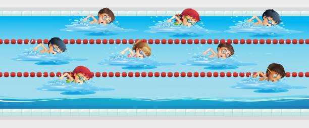 Panoramic swimming pool clip art vector images - Clipart piscine ...
