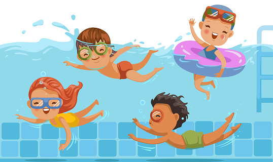 Children Swimming Stock Illustration - Download Image Now ...