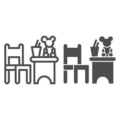 Children table and chair with toys line and solid icon, interior concept, children room sign on white background, table and chair with toy and stand for pencils icon in outline style. Vector graphics.