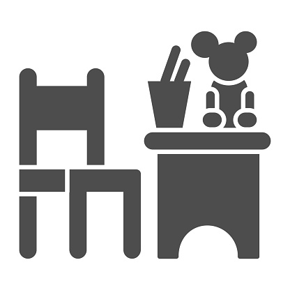 Children table and chair with toys solid icon, interior concept, children room sign on white background, table and chair with toy and stand for pencils icon in glyph style. Vector graphics.