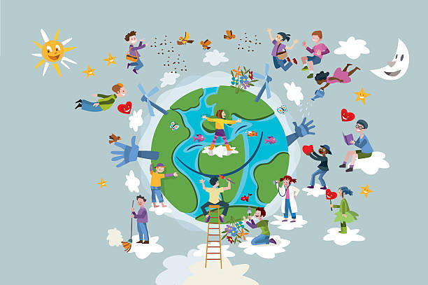 Children Take care of Planet Earth vector art illustration