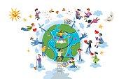 Children Take care of Planet Earth  White
