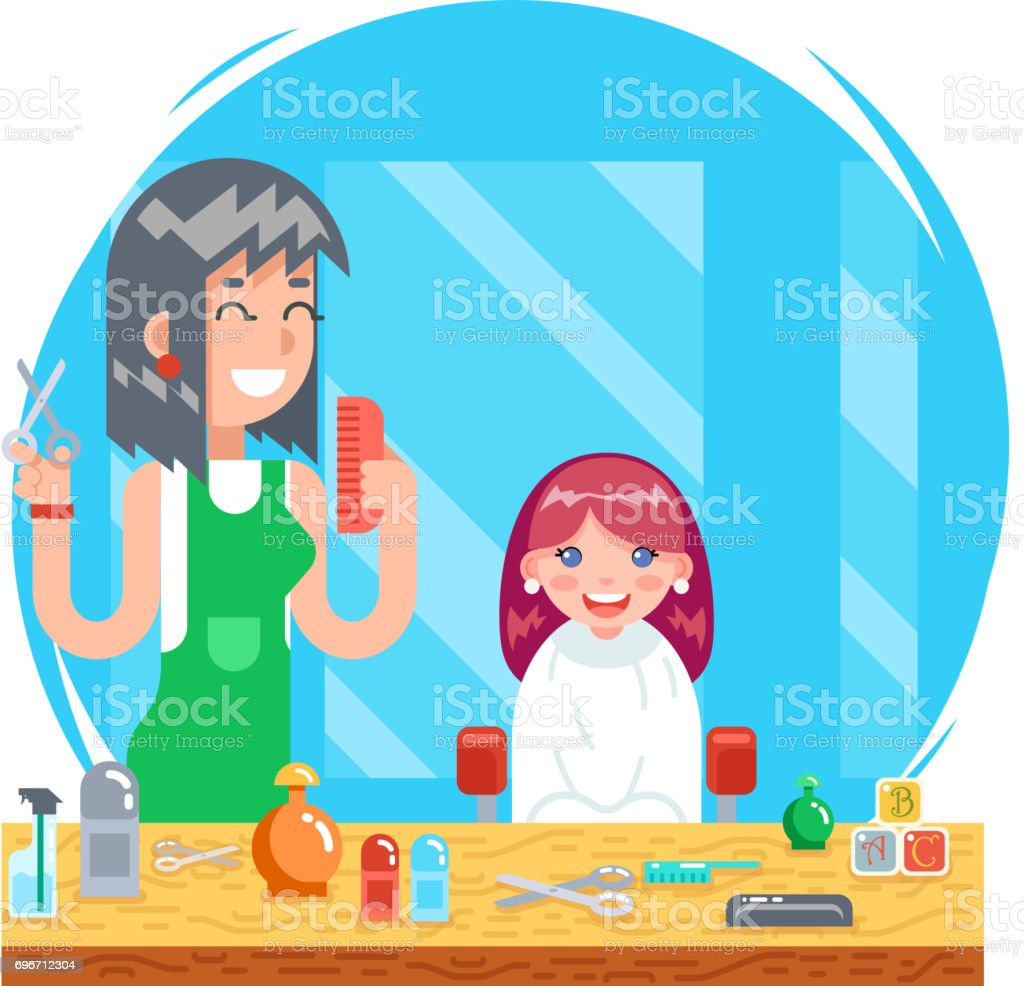Awesome Children Teenager Hairdresser Character Cute Little Girl And Schematic Wiring Diagrams Amerangerunnerswayorg