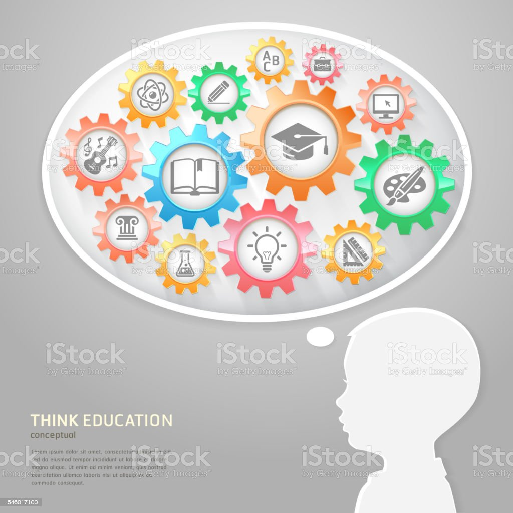 Children think with education icons in gears. – Vektorgrafik