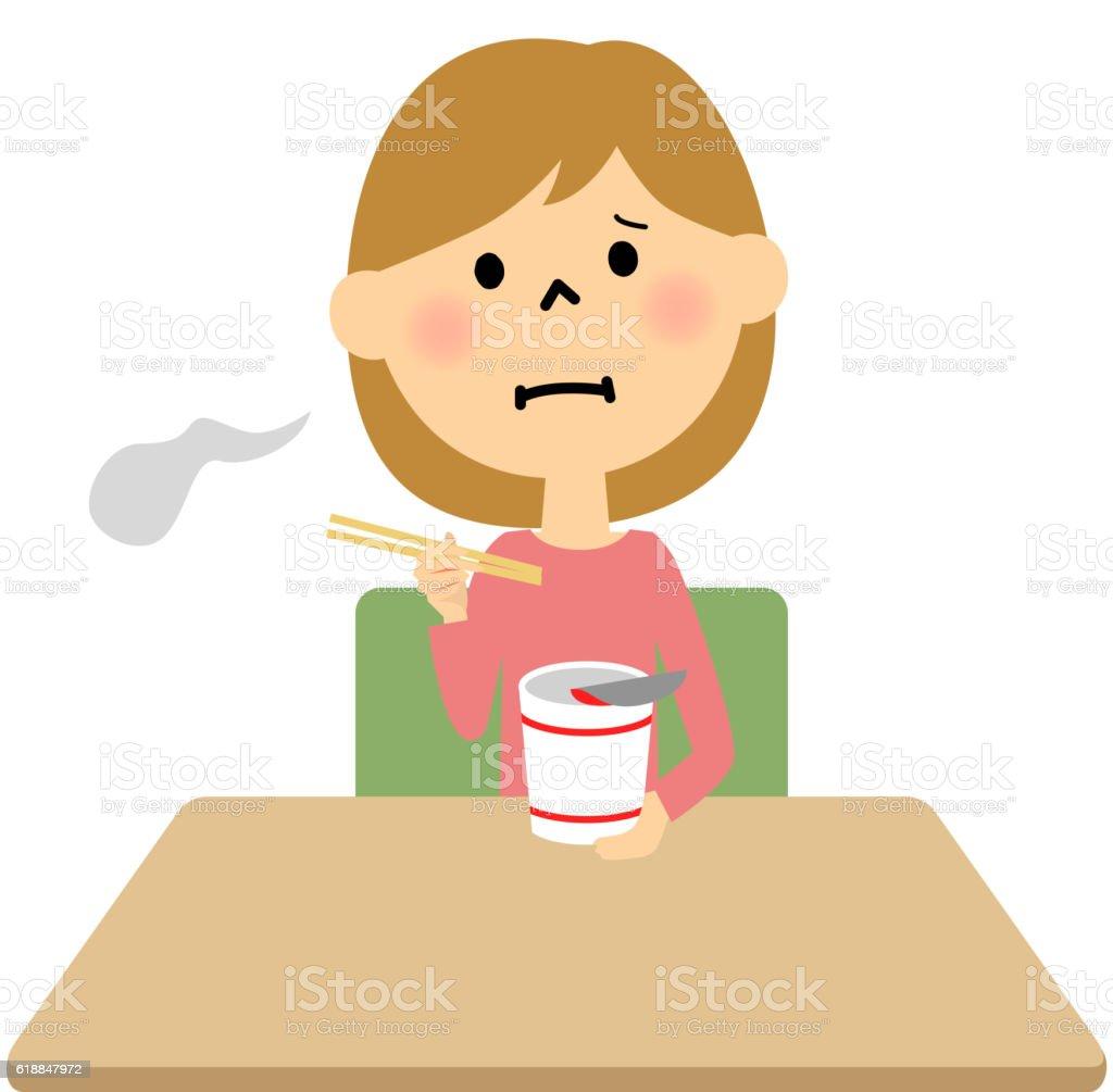 Children to eat instant noodles alone vector art illustration