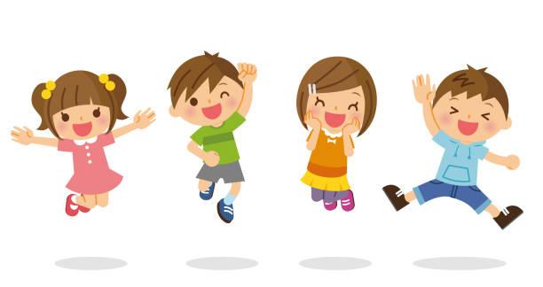 illustrazioni stock, clip art, cartoni animati e icone di tendenza di children to jump. - solo giapponesi