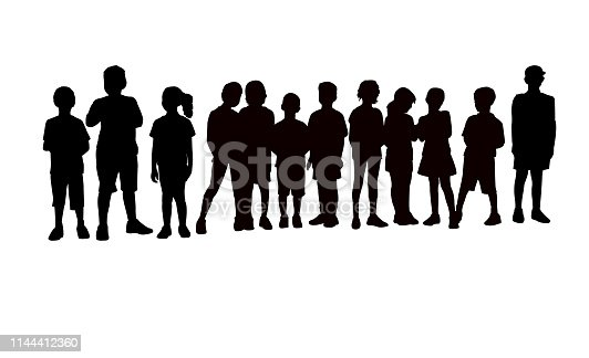 children together, waiting in line silhouette vector