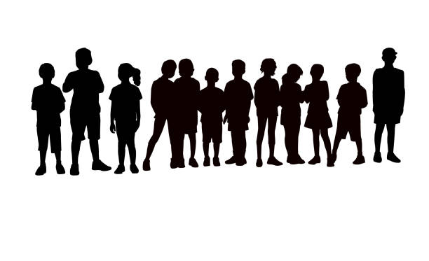 ilustrações de stock, clip art, desenhos animados e ícones de children together, waiting in line silhouette vector - criança