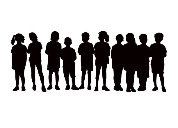 Children together, waiting in line silhouette vector Children together, waiting in line silhouette vector children only stock illustrations