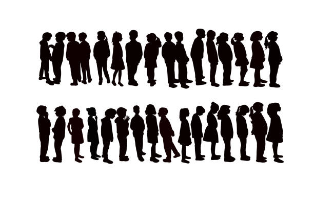 Children together, waiting in line silhouette vector Children together, waiting in line silhouette vector elementary age stock illustrations