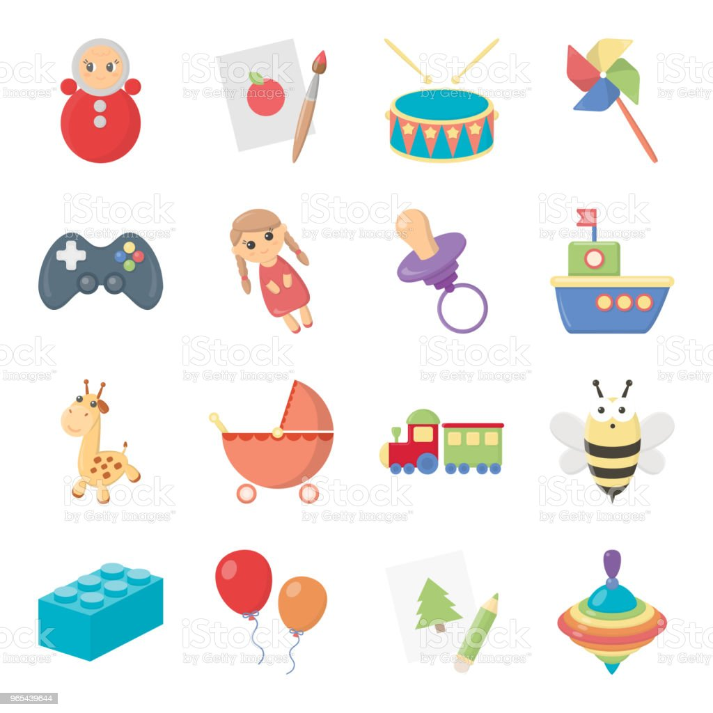 Enfants jouets dessin animé icônes dans la collection de jeu pour la conception. Jeu et babiole symbole web stock illustration vectorielle. - clipart vectoriel de Abeille libre de droits