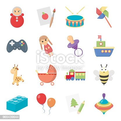 Children Toy Cartoon Icons In Set Collection For Design Game And Bauble Vector Symbol Stock Web Illustration Stock Vector Art & More Images of Baby Stroller
