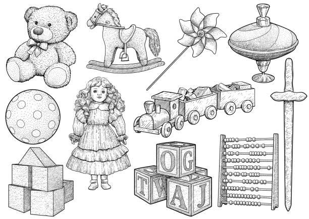 bildbanksillustrationer, clip art samt tecknat material och ikoner med barn leksak samling, illustration, teckning, gravyr, bläck, konturteckningar, vektor - abakus