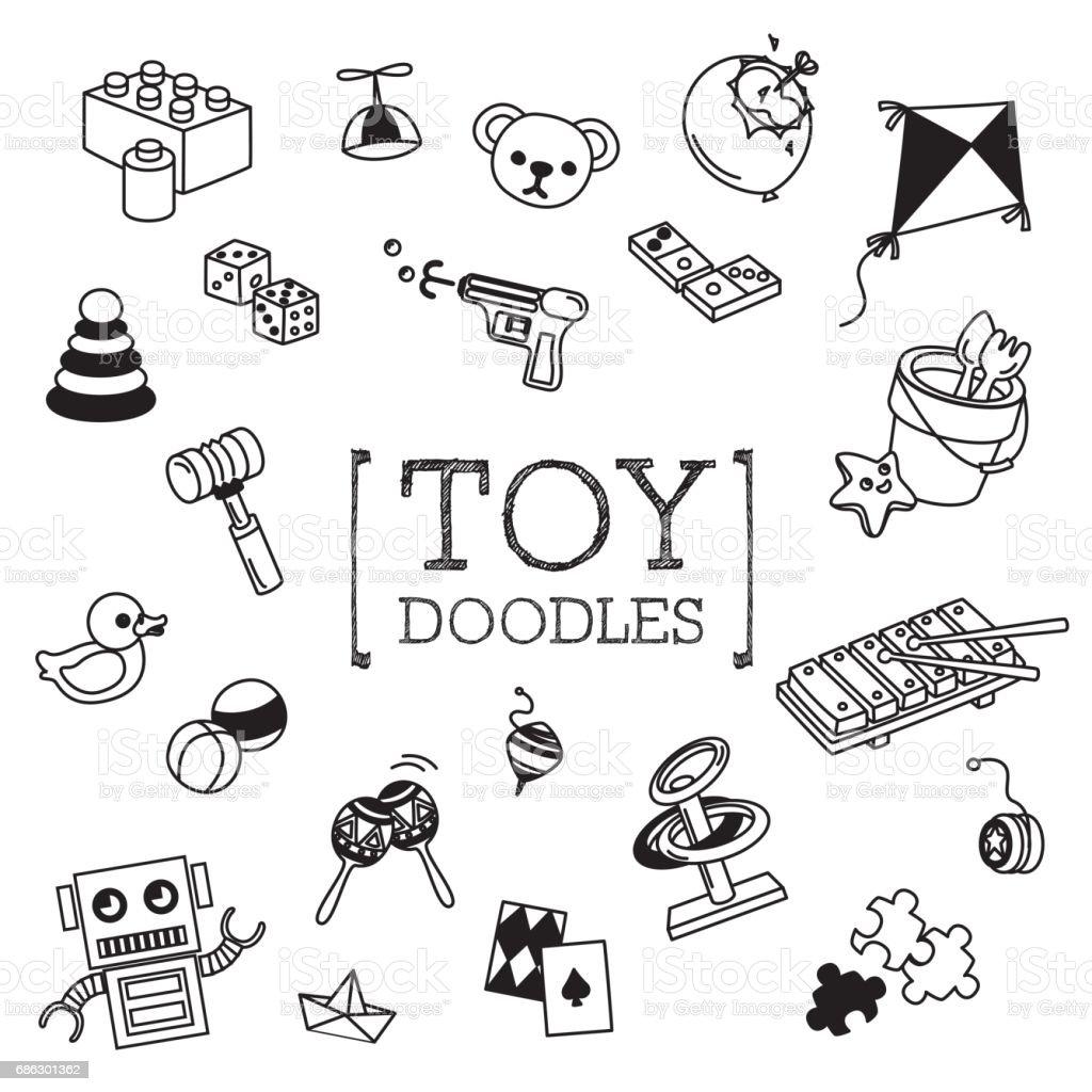 Brinquedo das crianças doodles conjunto - ilustração de arte em vetor