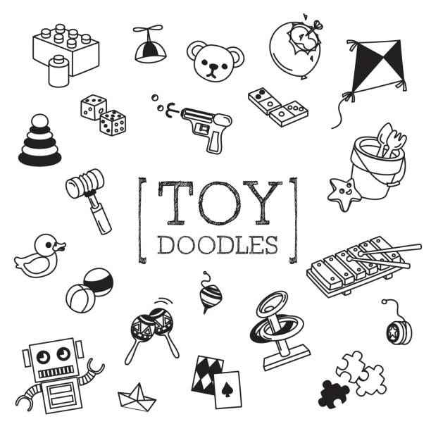 children toy doodles set - zabawka stock illustrations