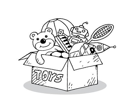 Children toys in cardboard toy box