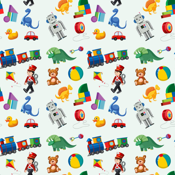 children toys seamless pattern - zabawka stock illustrations