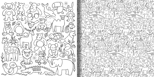 Children toys set and seamless pattern.