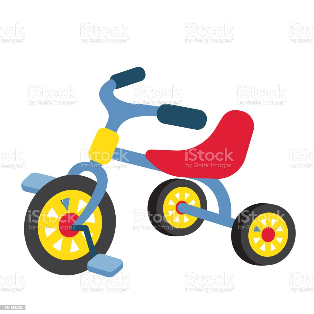 Children Tricycle transportation cartoon character perspective view vector illustration vector art illustration