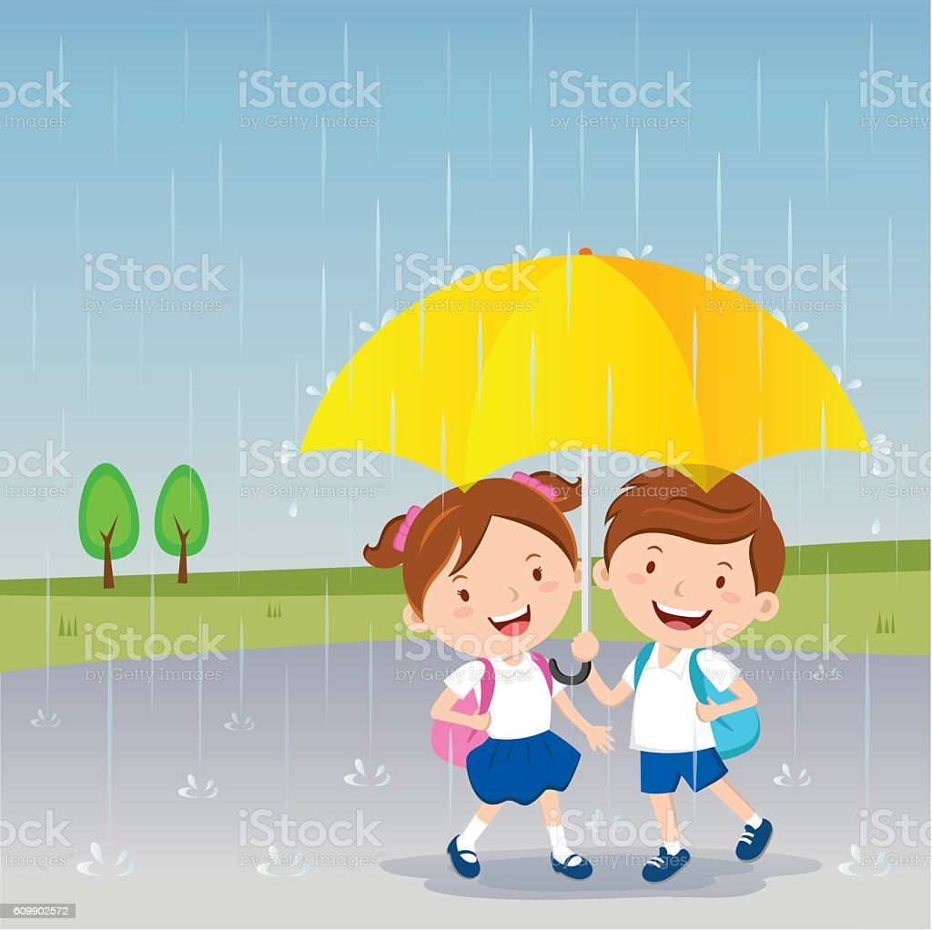 Rainy Day Clip Art: Royalty Free Drawing Of A Girl Holding Umbrella Clip Art