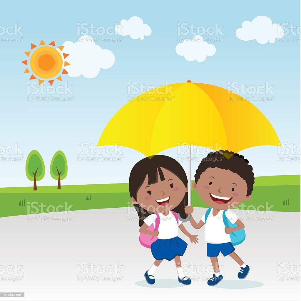 Children under the umbrella, Sunny day vector art illustration