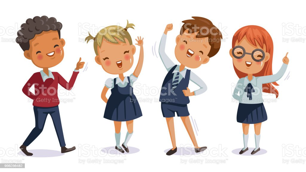 children uniform vector art illustration