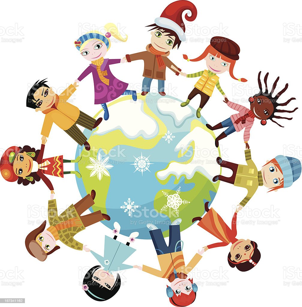 Children uniting around the world stock vector art more for Art from around the world