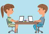 Vector Children Using Laptop