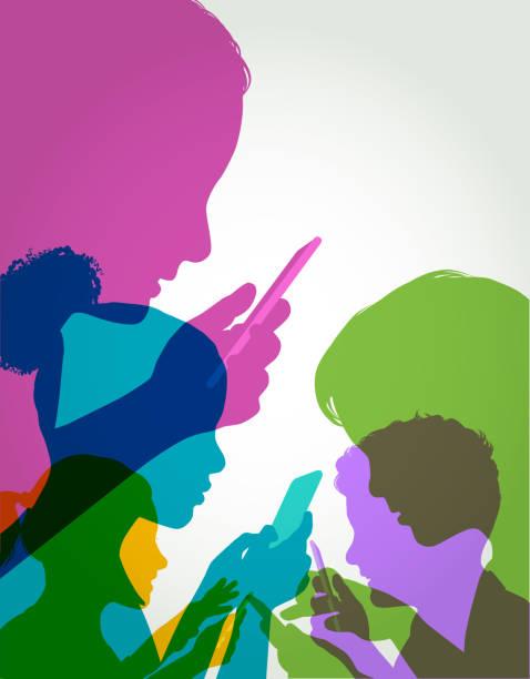Children Using Mobile phones Colourful overlapping silhouettes of Children Using Mobile phones digital native stock illustrations