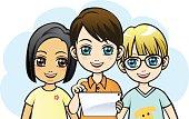 Vector Illustration - Children using tablet